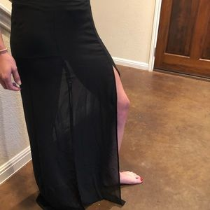 Maxi skirt with front slits